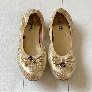 Michael Kors Gold Flats with Logo